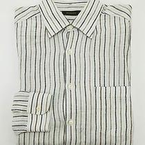 450 Ermenegildo Zegna Striped Lightweight Pure Linen Buttondown Shirt Xl Photo