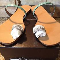 450 Giuseppe Zanotti Patent Leather Toe Thong Sandal Size 39 9 Aqua Nib Photo
