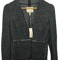 450 New Rebecca Taylor Womens Jacket Size 2 Black & White Tweed Suit Blazer Photo