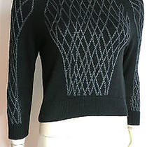450 Theyskens Theory Black and Gray Lattice Knit Detail Sweater Petite  Photo