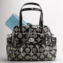 458 Coach Addison Op Art Multifunction Tote Weekender Diaper Bag Black & Grey  Photo