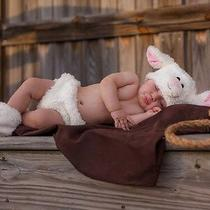 4582 Cuddly Lamb Sheep Costume Newborn Diaper Cover Hat Booties 0-3 Month Photo