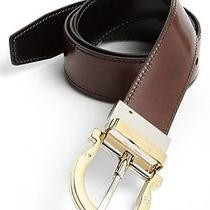 460 Salvatore Ferragamo Men's Leather Twirl Flip Buckle Gancini Belt Size 42 Photo