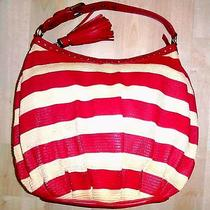 468 Moschino Extra Large Ruby Pink & Cream Striped Grass & Leather Shoulder Bag Photo