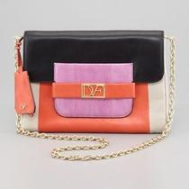 475 Diane Von Furstenberg Dvf Colorblock Mimosa Chain Envelope Clutch Bag Purse Photo