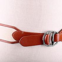48 Lauren by Ralph Lauren Women's Canvas Belt With Equestrian D-Rings Tan  S Photo