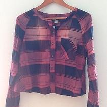 49 Nwt Urban Outfitters Pink Plaid Girly Grunge Top Cropped Henley S Cute Photo
