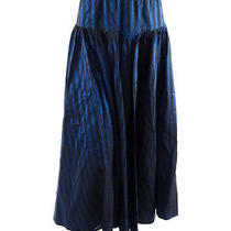 495 Norma Kamali Blue & Black Striped Layered Taffeta Skirt - Medium Photo