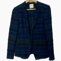 495 Rebecca Taylor Tweed Blazer Jacket Blue Black Euc 4 Photo
