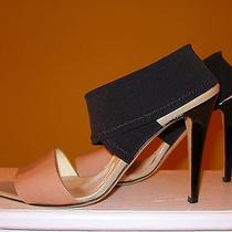 498 Brian Atwood Blush Patent-Leather & Black Elastic Criss Cross Sandal 39.5 Photo