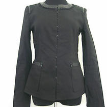 498 Elie Tahari Black Linen Jacket Leather Detail Size 2 Photo
