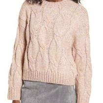 4si3nna Women's Sweater Blush Pink Size Medium M Cable Knit Pullover 69 323 Photo