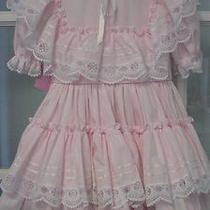 4t Pink Layered Ruffled Frilly Dress Vintage Gold Bell Girls Lace Ruffles Fancy Photo