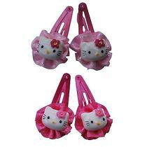 4x Pink Hello Kitty Snap Hairclips Girl Toddler Small but Cute Christmas Box Photo
