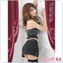 4x Secretary Teacher Costume Sm Fancy Dress Halter Top  Mini Skirt Lingerie Kit Photo