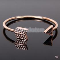 4x Vintage Style Arrow Cuff Bracelet Bangle Earrings Necklace Rose Gold Photo