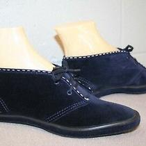 5.5 Nos Vtg 1970s Navy Blue Suede Chukka Velour Ankle Boot 60s 70s Bootie Shoe Photo