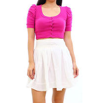 5-7-9 H/m Magenta Pink Puffed Sleeve Button Down Cropped Top Size Xs Photo