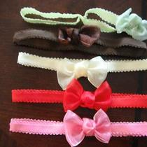 5 Baby Girls Headbands Hair Bows Accessories Fancy Red Soft Newborn -12 Months Photo