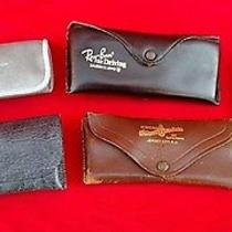 5 Pc Lot Mixed Antique Vintage Eye Glass Glasses Case Leather Ray Ban   Photo