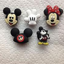 5 Pc Mickey Mouse Shoe Charms Fits Crocs Set of Mickey Ears & Glove Shoe Charms  Photo