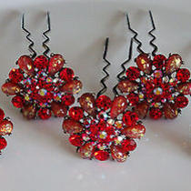 5 Pcs Bridal Wedding Prom Red Hair Pins With Swarovski Crystal  Photo
