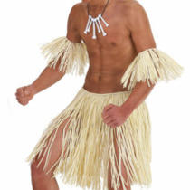 5 Piece Zulu Warrior Straw Fancy Dress Costume Set Photo