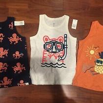 5 T Baby Gap Kids 3pc Lot Blue Orange Tank Top Sleeveless Shirt Boy Toddler Nwt  Photo