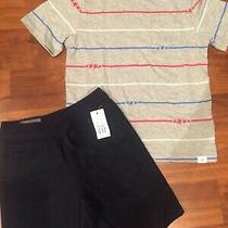 5 T Baby Gap Kids Blue Red Gray Stars Stripes Shirt Navy Blue Shorts Boy Nwt Photo