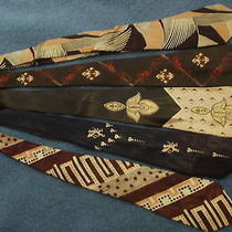 5 Vintage Art Deco Wide Ties Griffin & Stylized Piano Key Board Photo