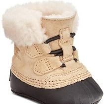50 Carter Sorel Baby Girls Tan Caribootie   Snow Booties Sz  0-6 Months 2 Jc295 Photo