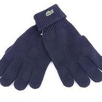 50 Lacoste Men's Classic Wool Gloves Navy Blue Merino Extra Fine Woolmark S Photo