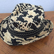 50 (New) Laundry by Shelli Segal Women's Camel/black Woven Straw Hat Photo