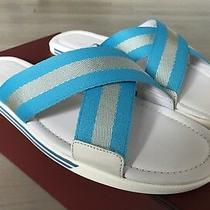 500 Bally Bonks White and Blue Leather Sandals Size Us 12 Made in Italy Photo