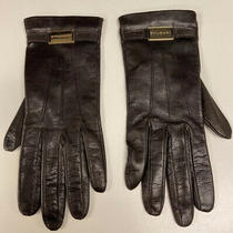 500 Bvlgari Branded Womens Leather Gloves -Exc Cond - Silk Lined - 7.5 Photo