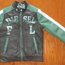500 Diesel Boy's Distress Leather Rider Insulated Jacket M/8 Photo