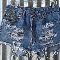 501 Levi's Vintage Distressed High-Waisted Cutoff Shorts 34 Waist Grunge Unif Photo