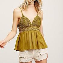 5042 New Free People Wild Honey Smocked Crochet Lace Green Tank Blouse Top Xs Photo