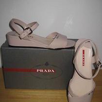 510  Prada  Beige   Patent  Leather Sandals  Size 8 / 385 Photo