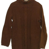 525 America Brown Mock Turtle Neck Women's Cable Knit Sweater Small Excellent Photo