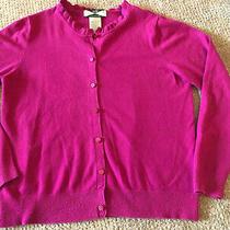 525 America Cardigan Sweater Fuscia Ruffled Neckline Size L  Photo