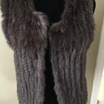 525 America Luxe Rabbit Fur Vest Jacket Open Front Sz S Brown Lined New Photo