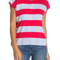 525 America Striped Cap Sleeve Knit Top Raspberry Multi Small New W/ Tags 78. Photo