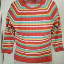 525 America Stripped Ribbed 3/4 Sleeve Sweater Small S Photo