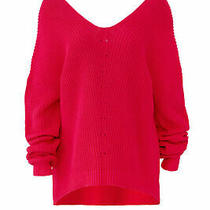 525 America Women's Sweater Pink Size Large L Knitted High-Low Hem 134- 116 Photo