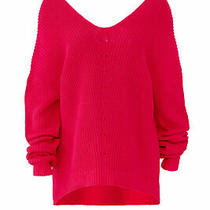 525 America Women's Sweater Pink Size Medium M Knitted v-Neck Hi-Lo 134- 948 Photo