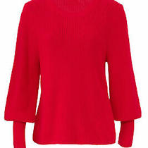 525 America Women's Sweater Red Size Small S Knit Billowy Sleeve 120- 314 Photo