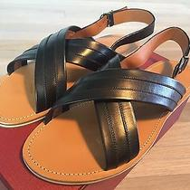 525 Bally Black and Tan Amadis Leather Sandals Size Us 12 Made in Italy Photo