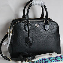 535 Nwt Tory Burch Robinson Pebbled Triple Zip Tote Black Leather Dust Bag  Photo
