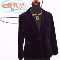 548 Coach Womens Purple Velvet Silk Short Jacket Blazer Coat Sz 10 3280 Rare Photo